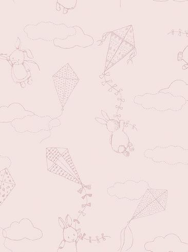 The wallpaper Up&Away from Boråstapeter. The wallpaper design and pattern is pink and consists of Animals Children's Playful & Imaginative