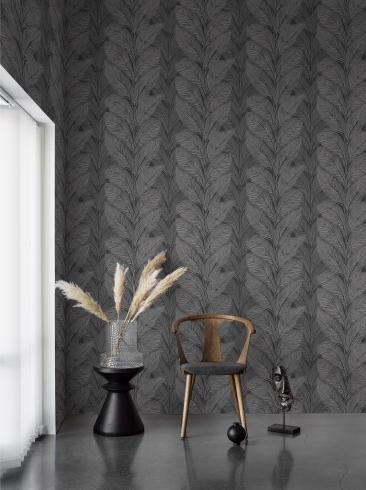 The wallpaper Urban Jungle from Engblad & Co. The wallpaper design and pattern is grey and consists of Plants
