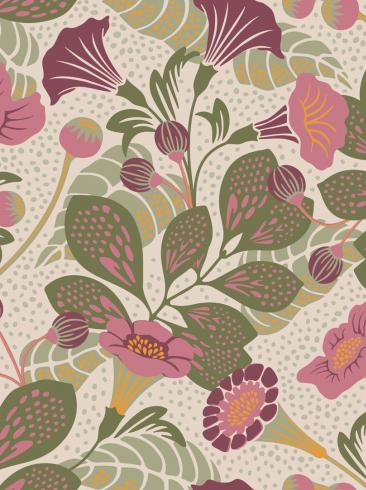 The wallpaper Vildtuta from Boråstapeter. The wallpaper design and pattern is pink and consists of Playful & Imaginative