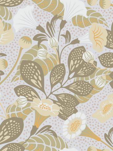 The wallpaper Vildtuta from Boråstapeter. The wallpaper design and pattern is green and consists of Playful & Imaginative
