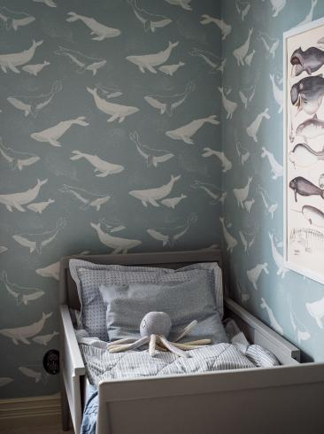 The wallpaper Whales from Boråstapeter. The wallpaper design and pattern is blue and consists of Animals Children's Playful & Imaginative