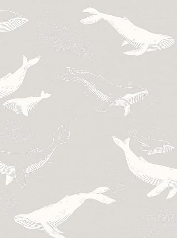 The wallpaper Whales from Boråstapeter. The wallpaper design and pattern is grey and consists of Animals Children's Playful & Imaginative