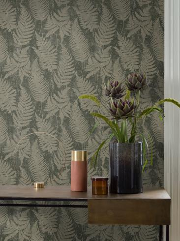 The wallpaper Whistler from Engblad & Co. The wallpaper design and pattern is green and consists of Plants