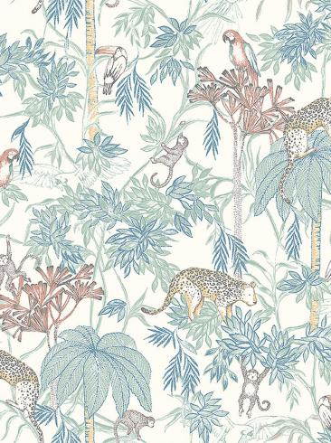 The wallpaper Wild Jungle from Boråstapeter. The wallpaper design and pattern is white and consists of Animals Birds Children's Playful & Imaginative