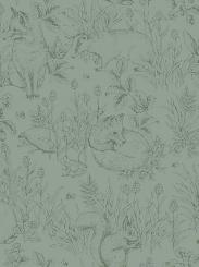 The wallpaper Forest Friends from Boråstapeter. The wallpaper design and pattern is green and consists of Animals Children's Playful & Imaginative