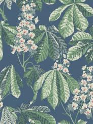 The wallpaper Chestnut Blossom from Boråstapeter. The wallpaper design and pattern is blue and consists of Floral