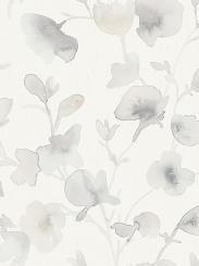 The wallpaper Dawn from Boråstapeter. The wallpaper design and pattern is grey and consists of Floral Graphic