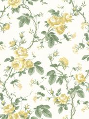 The wallpaper French Roses from Boråstapeter. The wallpaper design and pattern is yellow and consists of Floral