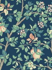 The wallpaper Ingrid Marie from Boråstapeter. The wallpaper design and pattern is blue and consists of Floral Foliage Tree