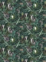 The wallpaper Madagascar from Boråstapeter. The wallpaper design and pattern is green and consists of Animals Foliage Forest