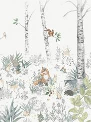 The wallpaper Magic Forest Mural from Boråstapeter. The wallpaper design and pattern is multi and consists of Animals Children's Playful & Imaginative