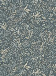 The wallpaper Nocturne Mural from Boråstapeter. The wallpaper design and pattern is blue and consists of Floral Foliage