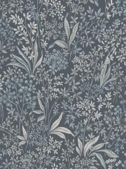 The wallpaper Nocturne from Boråstapeter. The wallpaper design and pattern is blue and consists of Floral Foliage