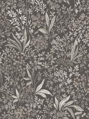 The wallpaper Nocturne from Boråstapeter. The wallpaper design and pattern is black and consists of Floral Foliage