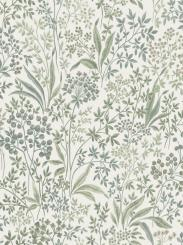 The wallpaper Nocturne from Boråstapeter. The wallpaper design and pattern is green and consists of Floral Foliage