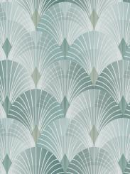 The wallpaper Pigalle from Engblad & Co. The wallpaper design and pattern is turquoise and consists of Damask