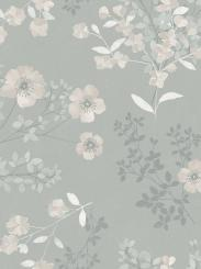 The wallpaper Prairie Rose from Boråstapeter. The wallpaper design and pattern is grey and consists of Floral