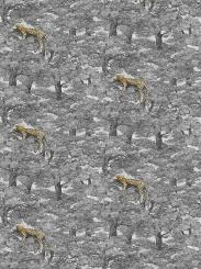 The wallpaper Samburu from Boråstapeter. The wallpaper design and pattern is grey and consists of Animals Tree