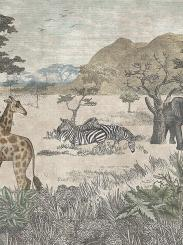 The wallpaper Serengeti from Boråstapeter. The wallpaper design and pattern is neutrals and consists of Animals Foliage Tree