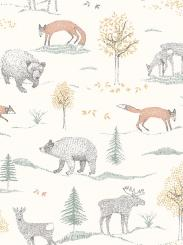 The wallpaper Up North from Boråstapeter. The wallpaper design and pattern is white and consists of Animals Children's Playful & Imaginative
