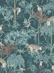 The wallpaper Wild Jungle from Boråstapeter. The wallpaper design and pattern is green and consists of Animals Birds Children's Playful & Imaginative